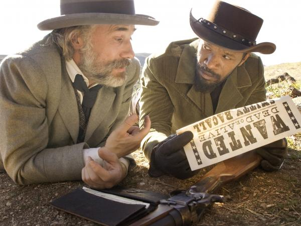 Christoph Waltz and Jamie Foxx in Quentin Tarantino's <em>Django Unchained</em>.