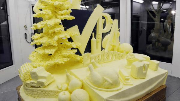 A 1,000-pound butter sculpture is unveiled at the 97th Pennsylvania Farm Show in Harrisburg last week.
