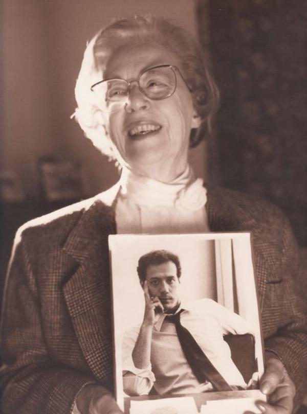 Jeanne Manford, founder of the national support group Parents, Families and Friends of Lesbians and Gays, or PFLAG, holds a photo of her son, Morty, circa 1993. Manford died Tuesday at 92.