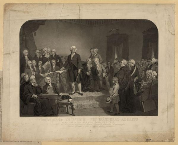 "April 30, 1789: George Washington was inaugurated in New York City as the first U.S. president. He set various precedents, including the use of a Bible for the oath, the use of the phrase ""so help me God,"" and the tradition of an inaugural address. During his second inauguration, in Philadelphia on March 4, 1793, Washington gave the shortest address in history, consisting of a mere 135 words."