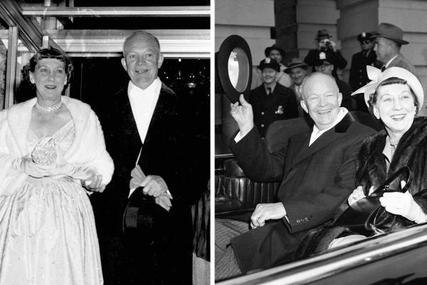 Here's President Dwight Eisenhower and first lady Mamie on Inauguration Day in 1953 (left) and 1957 (right).