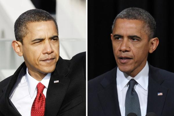 President Obama seems to have picked up a few gray hairs in the four years since he was sworn in on Jan. 20, 2009 (left). On the right, he's shown in December 2012.