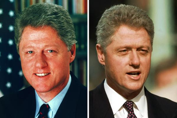 <p>President Bill Clinton's January 1993 official White House photo (left) is stacked up against an image of him being sworn in for a second time on Jan. 20, 1997.</p><p></p>
