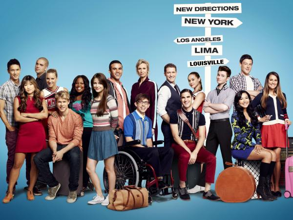 The cast of <em>Glee</em>, which is in its fourth season on Fox.