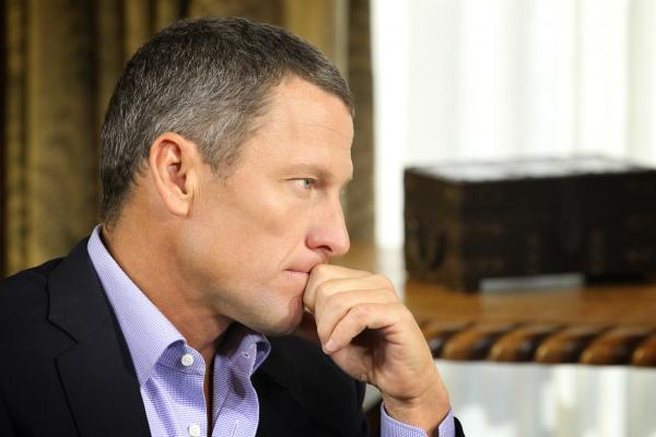Lance Armstrong during a January interview with Oprah Winfrey regarding the controversy surrounding his cycling career.