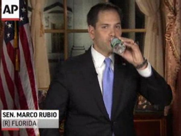 He needed to hydrate: Sen. Marco Rubio, R-Fla., during his address Tuesday.