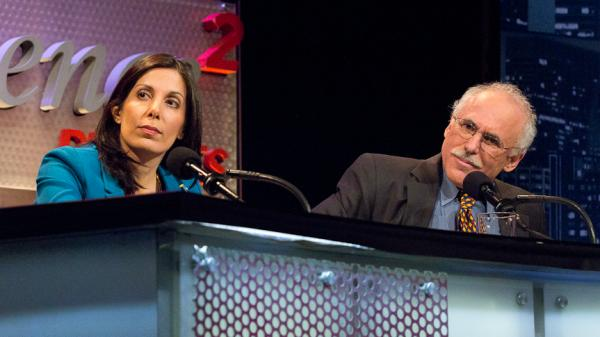 "Nita Farahany and Lee Silver argue against the motion ""Prohibit Genetically Engineered Babies"" during an <em>Intelligence Squared U.S.</em> debate."