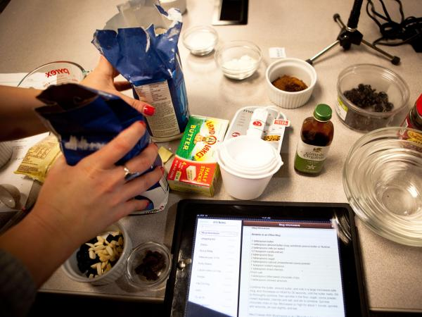 <em>Morning Edition</em> producer Rachel Ward preps the ingredients for a microwave creation.