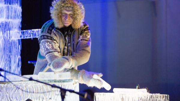 Ice musician Terje Isungset plays the ice blocks at the Kennedy Center in Washington, D.C.
