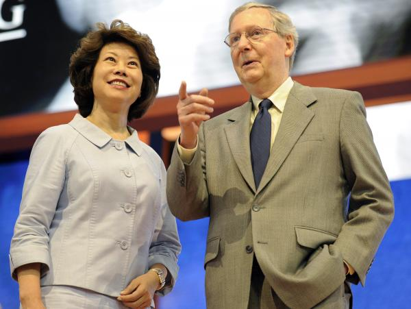 Senate Minority Leader Mitch McConnell, R-Ky., and his wife Elaine Chao at last summer's Republican National Convention in Tampa.