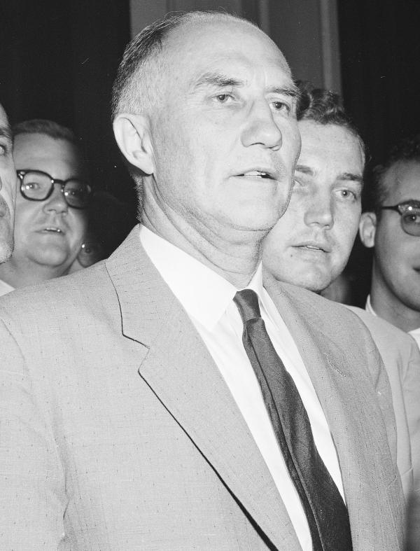 Sen. Strom Thurmond of South Carolina after his 24+ hour filibuster in 1957. He was a Democrat then. Later, Thurmond would switch to the Republican Party.