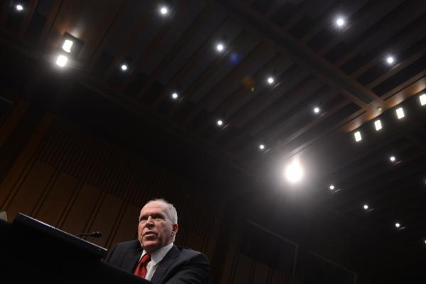 John Brennan testifies during his confirmation hearing before the Senate Intelligence Committee in Washington, on February 7, 2013.