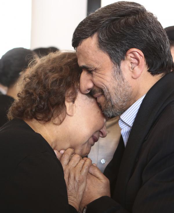 Iran's President Mahmoud Ahmadinejad offered his condolences to Elena Frias, mother of Venezuela's late President Hugo Chávez, last week. This image was provided to news services by the Miraflores Palace — the office of the Venezuelan president.