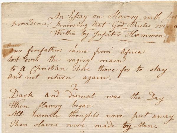 Newly found poem by Jupiter Hammon.