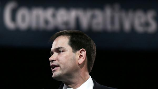 Sen. Marco Rubio, R-Fla., addresses the 40th annual Conservative Political Action Conference on Thursday in Maryland's National Harbor outside Washington, D.C.