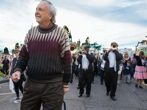 Chris Strachwitz leads the Treme Brass Band parade through the streets of Berkeley, Calif., in 2011, in honor of Arhoolie Records' 50th anniversary.