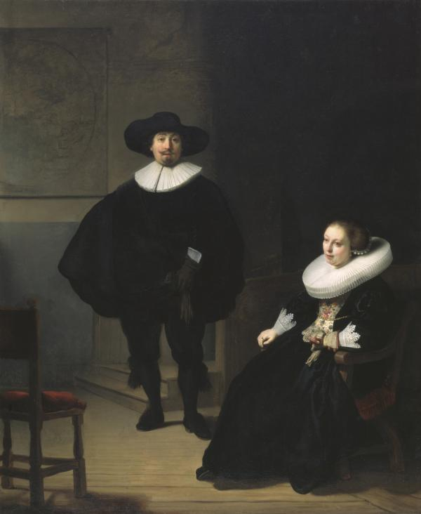Rembrandt, A Lady and Gentleman in Black, 1633. Oil on canvas, 131.6 x 109 cm. Inscribed at the foot: Rembrandt.ft: 1633. This monumental work hung in a prominent spot in the Dutch Room, visible through its windows overlooking the court. Rembrandt completed this work in his second year in Amsterdam in 1632.