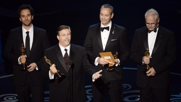 Guillaume Rocheron, Bill Westenhofer, Erik-Jan De Boer and Donald R. Elliott at the 85th Annual Academy Awards in February. Rhythm & Hues Studios, the company that produced the effects for winning film <em>Life of Pi</em>, recently declared bankruptcy.
