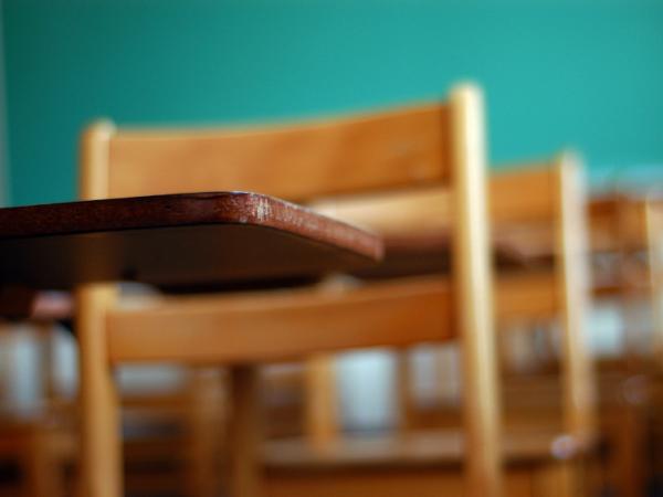Wooden classroom desks