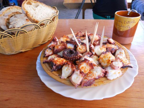 Octopus is traditionally on the menu at Festa da Istoria. But, as frequent festival attendee Judith Cohen notes, it's not kosher.