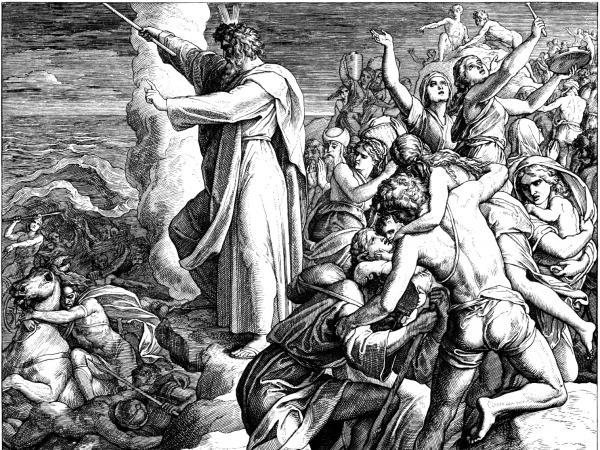 An engraving of Moses crossing the Red Sea by 19th-century German artist Julius Schnorr von Carolsfeld.