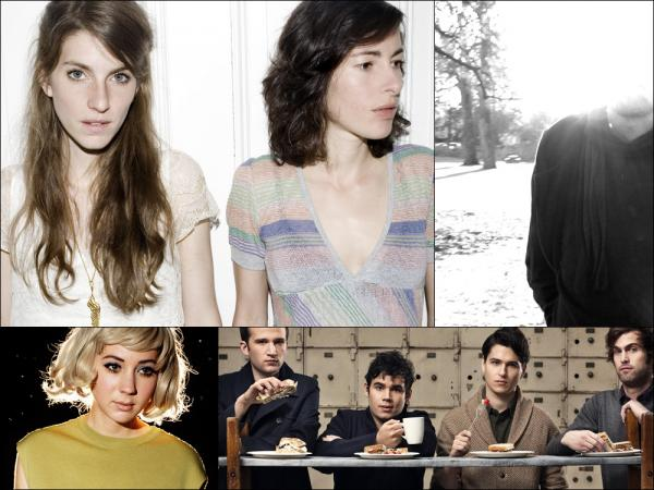 Clockwise from upper left: Valeska Steiner and Sonja Glass of Boy, Matthew Cooper of Eluvium, Vampire Weekend, Annie Hardy of Giant Drag