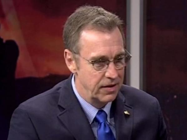 Rep. Matt Salmon, R-Ariz., being interviewed on Phoenix news station 3TV. Salmon, whose son is openly gay, says he remains opposed to same-sex marriage.