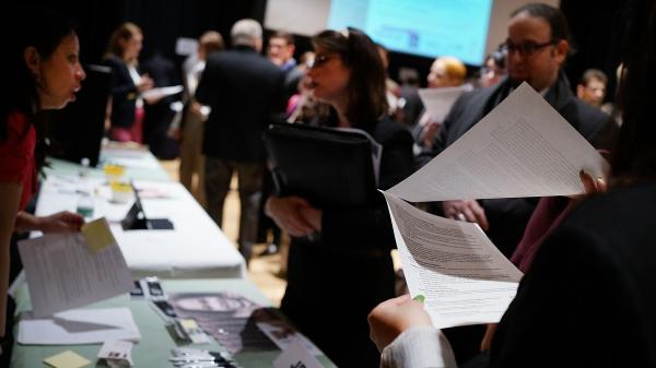 The scene at a job fair in Manhattan on March 6.