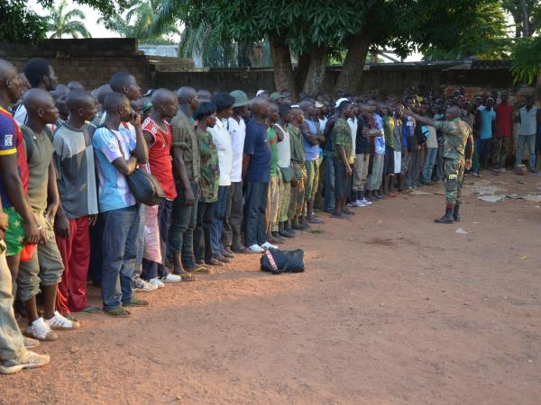 New recruits of the Seleka rebel army listen to orders in a military barracks in Bangui, on April 2.