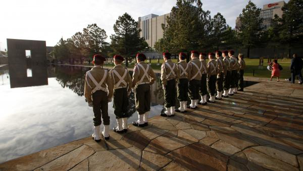 Oklahoma City officials say that a marathon that's part of memorial events honoring the anniversary of the 1995 bombing of the Alfred P. Murrah Federal Building will take place Friday. Here, Boy Scouts take part in the 2010 event.