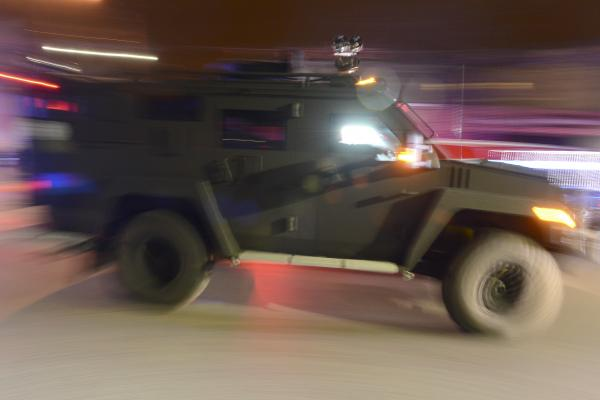 An armored vehicle is driven near Mount Auburn and Melendy streets in Watertown.