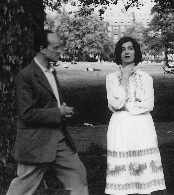 Edna O'Brien is pictured here with her husband, the writer Ernest Gebler, in London in 1959. O'Brien's first novel, <em>The Country Girls, </em>was published a year later.