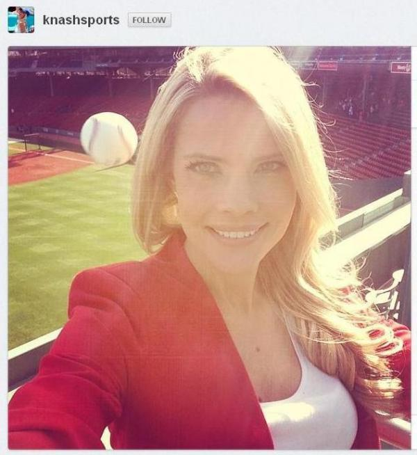 That's a baseball zooming in behind Kelly Nash's head. The image is from Nash's Instagram account, with her permission.