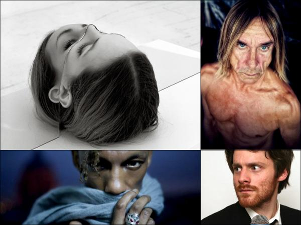 Clockwise from upper left:  Cover art for The National's <em>Trouble Will Find Me, </em>Iggy Pop, Walker Lukens and Tricky