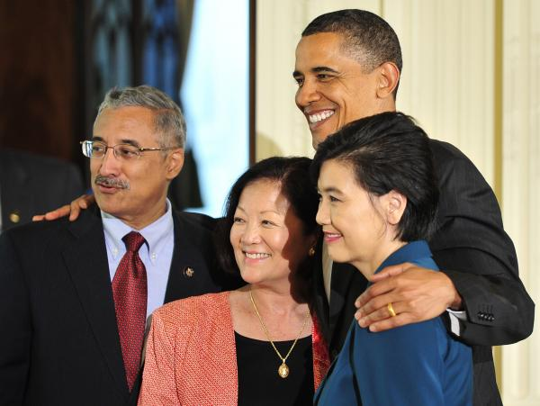 Reps. Bobby Scott of Virginia, Mazie Hirono of Hawaii and Judy Chu of California pose with President Obama in 2010, during a reception to celebrate Asian-Pacific American Heritage Month.