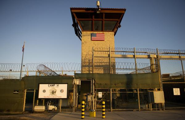 "This image reviewed by the U.S. military shows the front gate of ""Camp Six"" detention facility of the Joint Detention Group at the US Naval Station in Guantanamo Bay, Cuba."