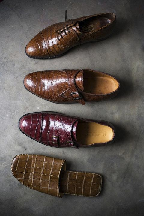 "Andre Nkolo is a <em>sapeur</em> who has lived in France for 15 years. Shoes are his passion, and he has more than 30 pairs. This is his crocodile collection: a pair of ""double boucle"" Weston, a pair of ""one boucle"" Weston, sandals by Dolce Gabbana and another very exclusive one."