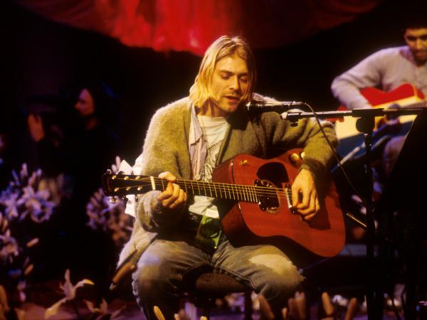 Kurt Cobain of Nirvana during the taping of MTV Unplugged at Sony Studios in New York City in November 1993.