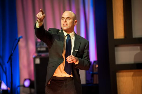 <em>Wait Wait... Don't Tell Me! </em>Host Peter Sagal warms up the crowd at New York University's The Skirball Theater.