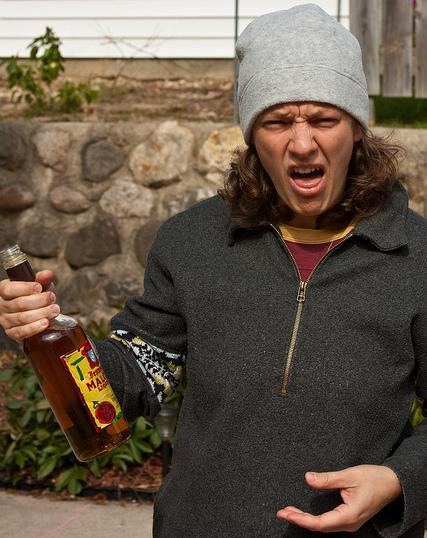 "A photo from the Flickr group <a href=""http://www.flickr.com/groups/malortface/"">Malort Face</a>, memorializing the facial expressions of people who try malort."