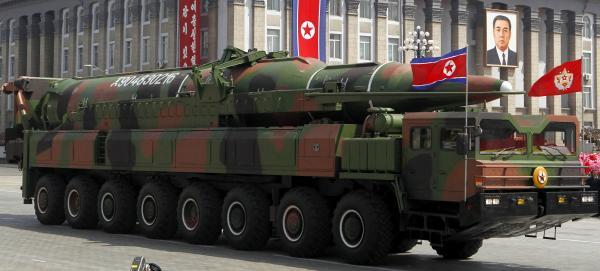 What appears to be a missile is carried during a mass military parade in Pyongyang, North Korea, on April 15, 2012. Some analysts say the half-dozen missiles showcased at the military parade were fakes.