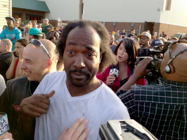 Charles Ramsey, who responded to shouts for help and triggered the rescue of three kidnapped women, talks to reporters.
