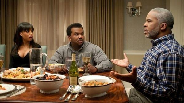 Grace Peeples (Kerry Washington, from left), Wade Walker (Craig Robinson) and Virgil Peeples (David Alan Grier) in <em>Peeples. </em>