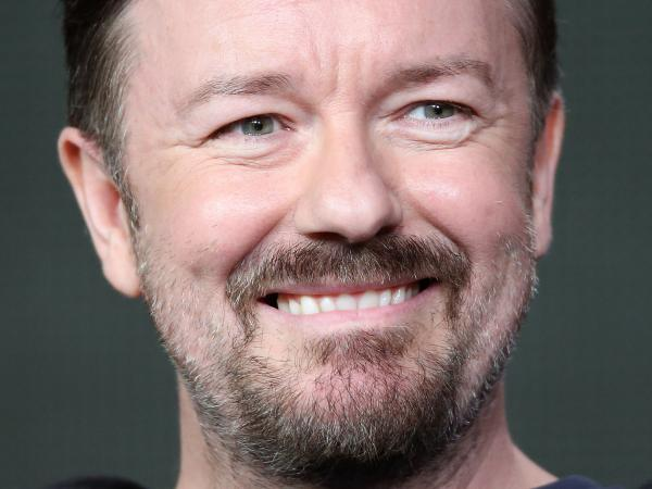 Ricky Gervais, co-creator and star of the BBC series <em>The Office</em>, speaks during the 2013 Winter Television Critics Association Press Tour in January 2013.