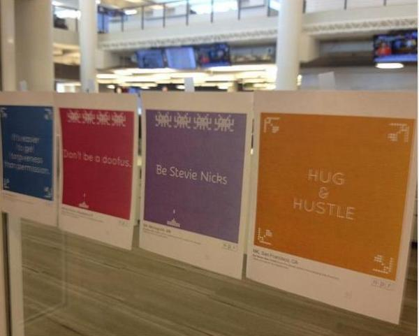 "NPR staff took their own advice, displaying favorite She Works posters around our building. NPR Senior Publicist Emerson Brown captured a few here. (He says the focus on Stevie Nicks is due to an ""Edge of Seventeen"" joke he has with the wife.)"