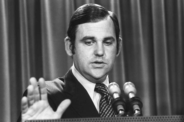 "White House press secretary Ron Ziegler was famous for mounting a strong defense of President Nixon during the Watergate scandal. In 1973, he famously apologized to <em>The Washington Post</em> and reporters Bob Woodward and Carl Bernstein, saying ""mistakes were made in terms of comments"" that the White House made about them."