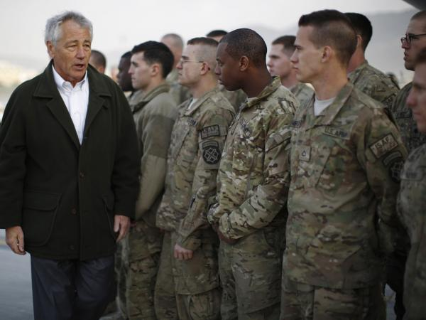 Secretary of Defense Chuck Hagel with U.S. troops in Kabul, Afghanistan, on March 11.