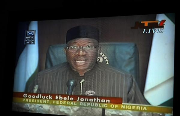 Nigerian President Goodluck Jonathan declares a state of emergency during a live broadcast on state television on Tuesday.