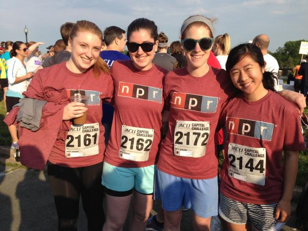Teaming up before the three-mile run were (l-r) Theo Balcomb, Digital News Production Assistant Rose Friedman, and <em>All Things Considered</em> Senior Editor Alison MacAdam and Production Assistant Jinae West.