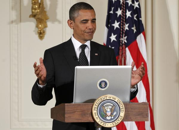 "Few things likely please the Obama White House as a political battle fought on social media. Above, President Obama participates in a ""Twitter Town Hall"" in 2011."